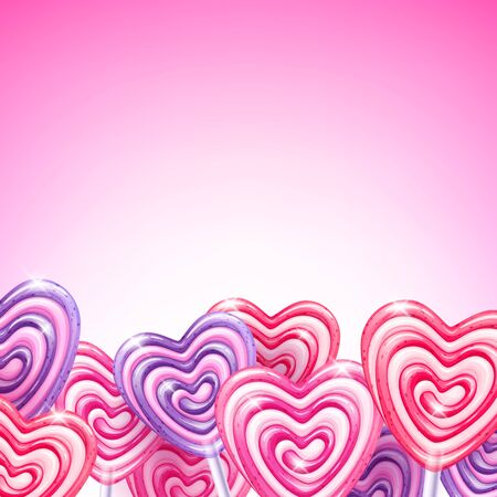 colorful heart: Colorful heart shape lollipop candies background.