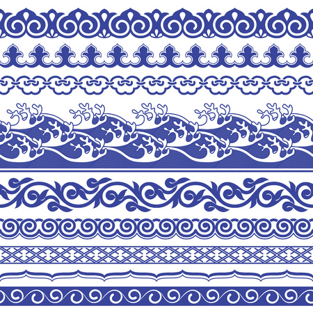 traditional pattern: Chinese porcelane seamless borders vector set.