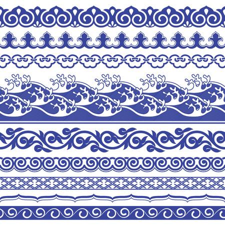 Chinese porcelane seamless borders vector set.