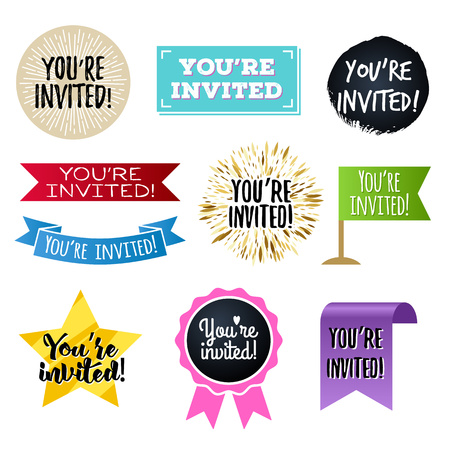 invited: Youre invited badges set. Invitation design. Illustration