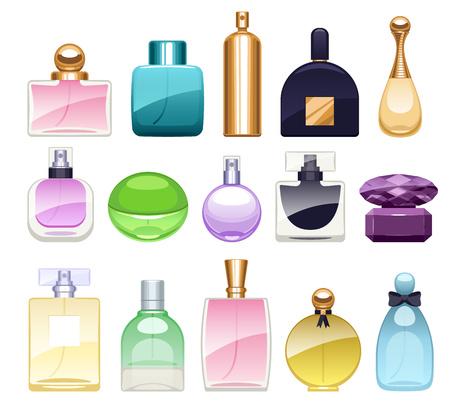 eau de toilette: Perfume bottles icons set vector illustration. Eau de parfum.