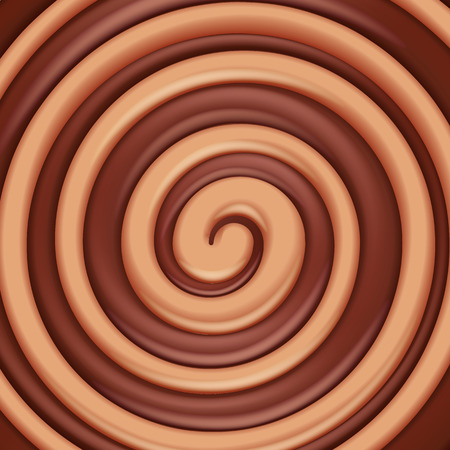 toffee: Toffee caramel and chocolate round swirl background. Sweet spiral candy.