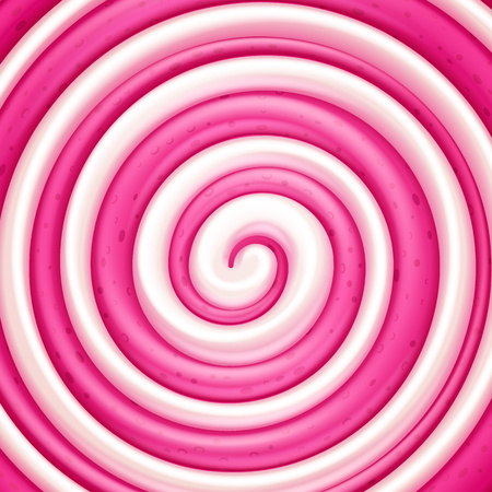 sweet background: Round pink lollipop background. Sweet candy pattern. Vector illustration