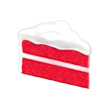 cake with icing: Red velvet cake slice isolated on white background. Vector illustration. Illustration