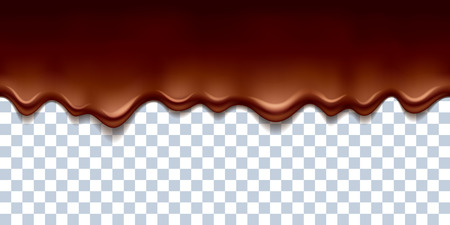chocolate drops: Melted flowing chocolate drips with transparency - seamless horizontal border vector illustration.