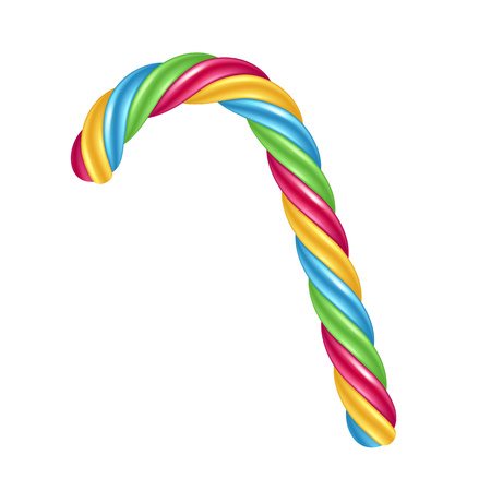 colorful stripes: Candy cane with colorful stripes. Illustration