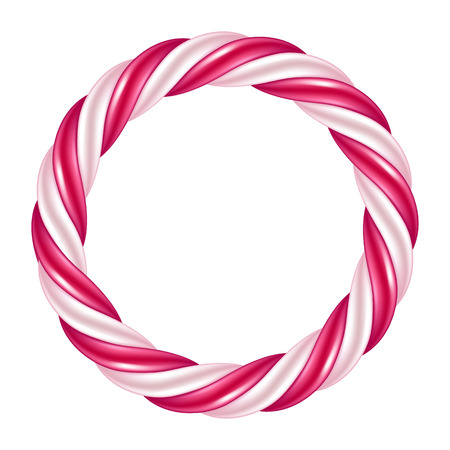 Round swirl candy cane background border. Hard candy frame.
