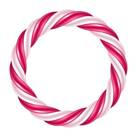 Runde Strudel Zuckerstange Hintergrund Grenze. Harte Süßigkeiten Rahmen. Standard-Bild