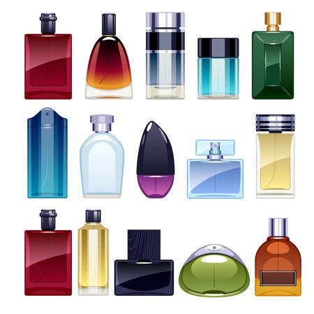 eau de perfume: Perfume bottles icons set illustration.