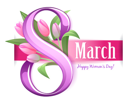 day: 8 march womens day greeting card. Tulip flowers and ribbon.