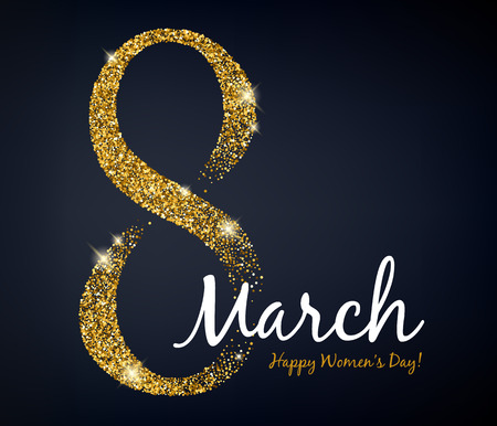 8 march womens day greeting card. Gold glitter. Illustration