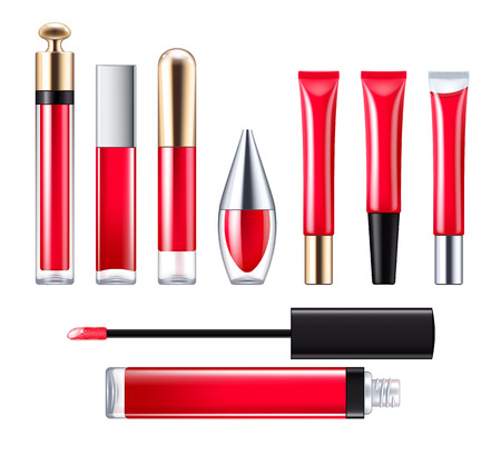 gloss: Red lip gloss set.
