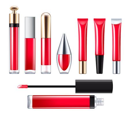 lip gloss: Red lip gloss set.