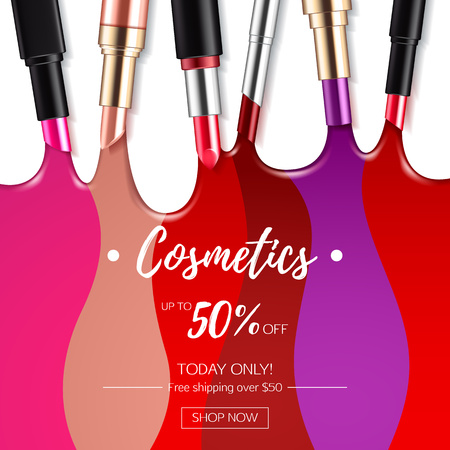 Melted colorful lipstick flow background.
