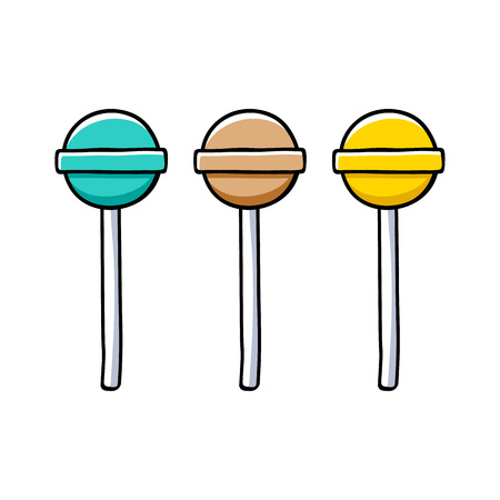 Set of colorful round colorful lollipops.