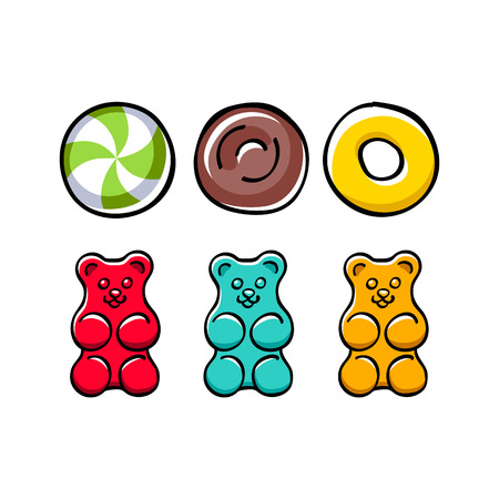 gummy: Colorful hard candies and gummy bears set.