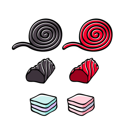 Licorice and marshmallow candies set vector illustration.