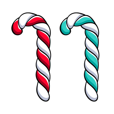 Candy cane with red and white stripes.