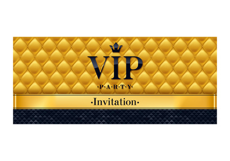 VIP party premium invitation. Black and golden design template. Quilted yellow pattern decorative background with black and golden ribbon.