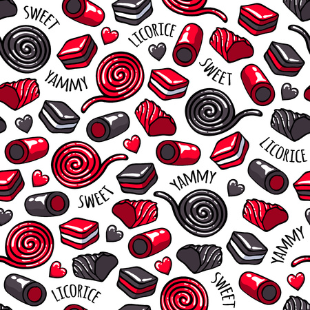 licorice sticks: Licorice candies seamless background vector illustration. Roll, stick and layer candy pattern. Hand drawn doodle sketch. Stock Photo