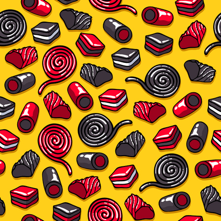 Licorice candies seamless background vector illustration.