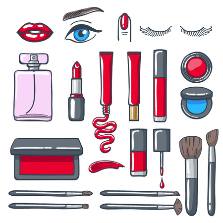 cosmetics products: Cosmetics products icons set. Beauty vector illustration.