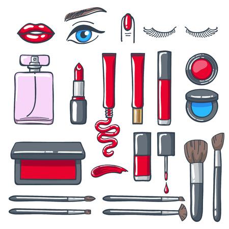eau de toilette: Cosmetics products icons set. Beauty vector illustration.