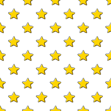 Yellow golden stars scribble sketch pattern background.