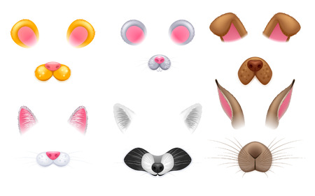 Video chat effects animal faces set.