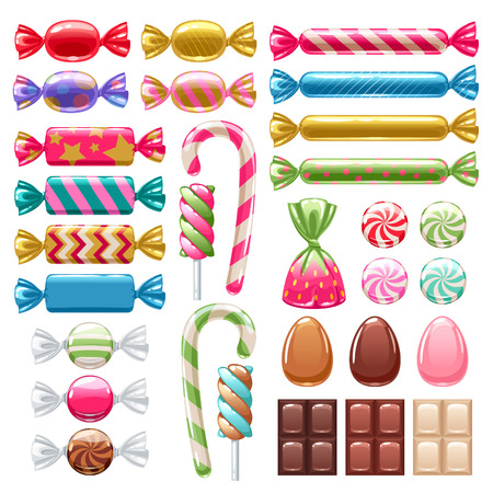 goody: Set of different sweets. Assorted candies.