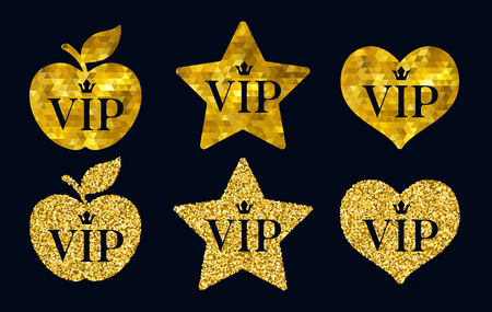 golden apple: VIP premium golden badges set.