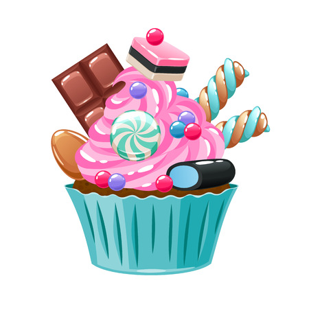 licorice sticks: Colorful cupcake decorated with sweets and candies.
