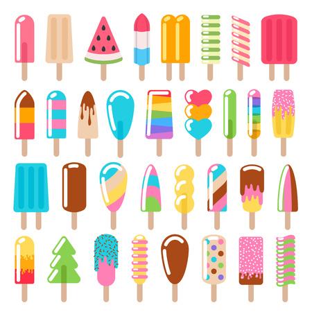 Popsicle ice cream icons set.