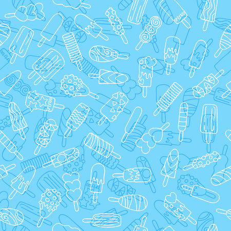 Popsicle ice cream icons pattern.