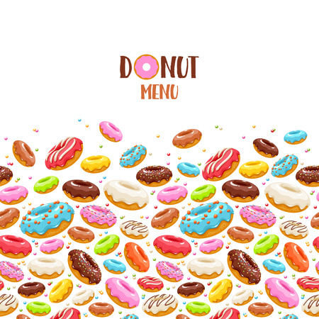 Colorful donuts icons background. Sweet bakery vector. Stock Vector - 76868095