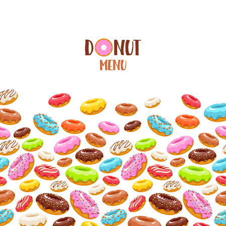 Colorful donuts icons background. Sweet bakery vector. Ilustracja