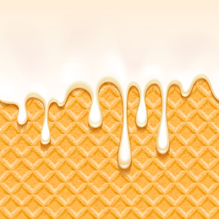 Wafer and vanilla cream - vector background. Illustration