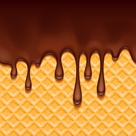 crisp: Wafer and melted chocolate - vector background.