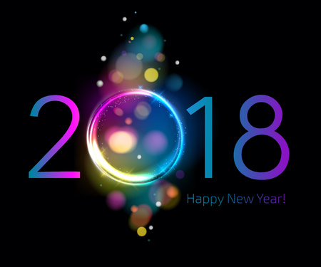 Colorful glow 2018 new year vector illustration.