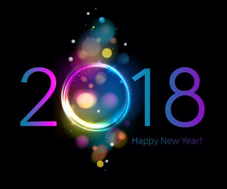 Bunte glühen 2018 neue Jahr Vektor-Illustration. Illustration