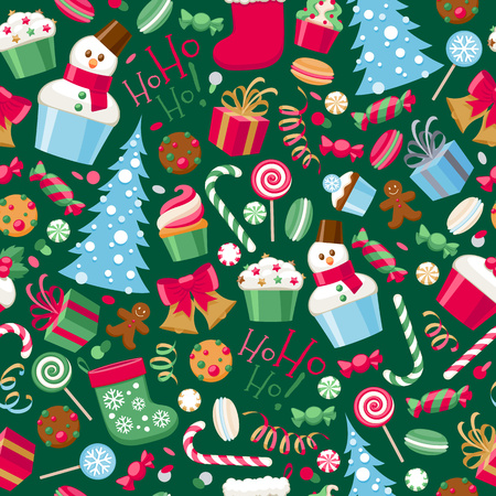 cupcake illustration: Colorful assorted christmas party icons seamless pattern.