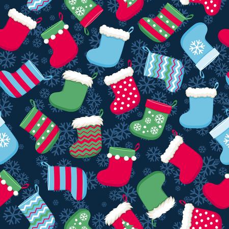 Kleurrijk Kerstmissokken en sneeuwvlokken vector naadloos patroon. Nieuwjaar seizoensgebonden achtergrond. Goed voor vakantie groet poster banner reclame ontwerp.