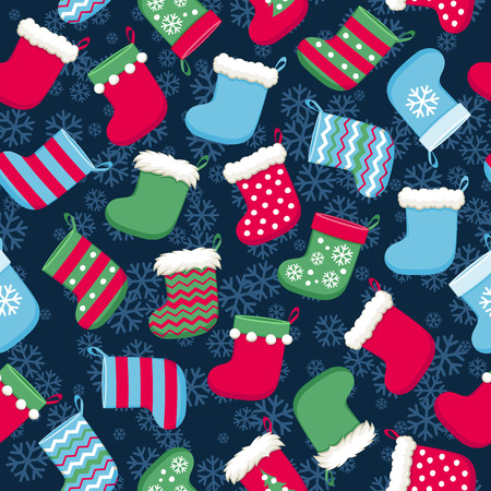 Colorful christmas socks and snowflakes vector seamless pattern. New Year seasonal background. Good for holidays greeting poster banner advertising design.