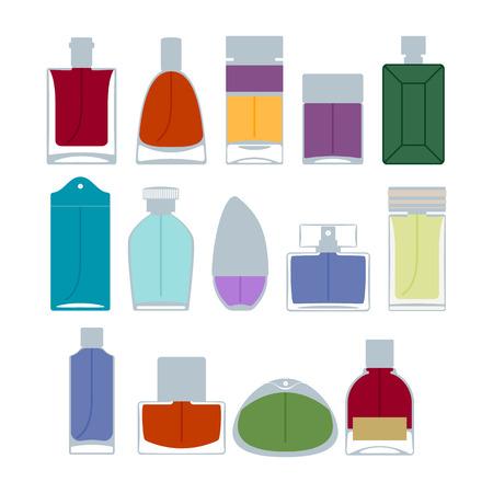 eau de perfume: Perfume bottles icons set vector illustration. Eau de parfum.