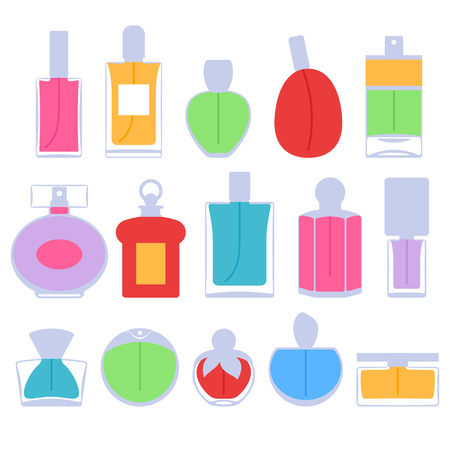 Perfume bottles icons set vector illustration. Eau de parfum.