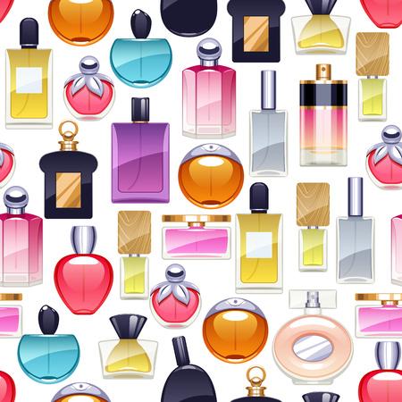 Perfume bottles icons seamless pattern. Eau de parfum. Çizim