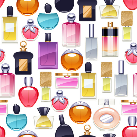 eau de perfume: Perfume bottles icons seamless pattern. Eau de parfum. Illustration