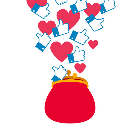 Blog monetization graphic. Hearts and likes.