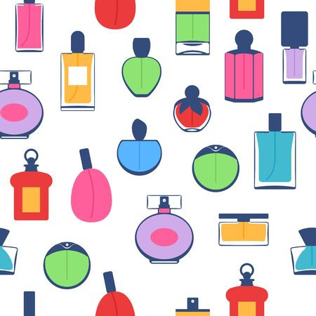 eau de perfume: Perfume bottles icons seamless pattern. Eau de parfum. Stock Photo