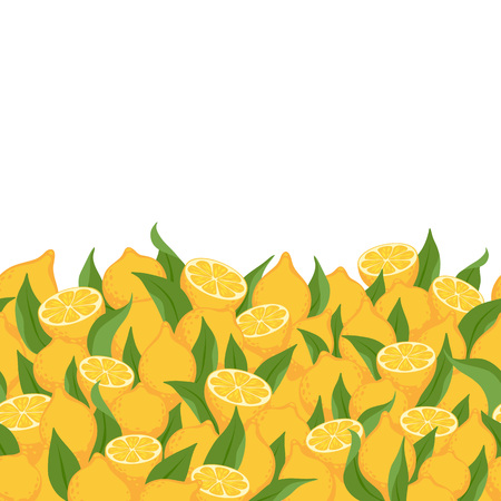 Lemons and leaves seamless horizontal background. Citrus fruits vector illustration.